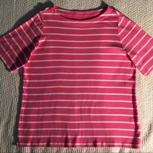 Pink & White Striped Tee